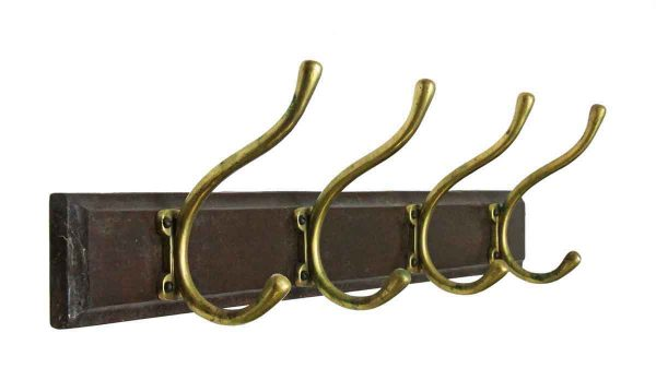 Racks - Wooden Rack with Four Brass Hooks