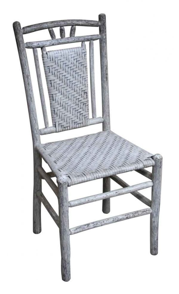 Seating - Set of 5 Gray Wicker & Wood Chairs