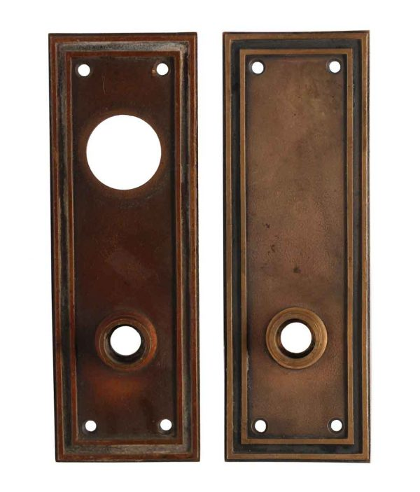 Back Plates - Pair of Antique Bronze Doric Entry Door Plates