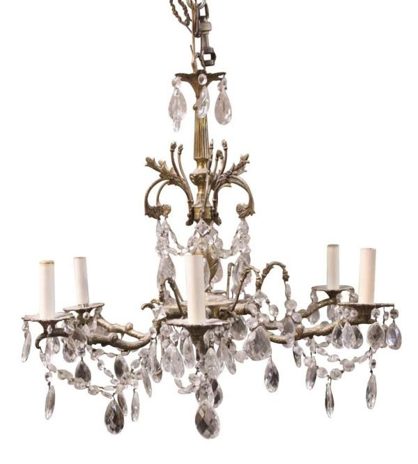 Chandeliers - Crystal & Brass Six Arm Chandelier from the Waldorf Astoria Hotel
