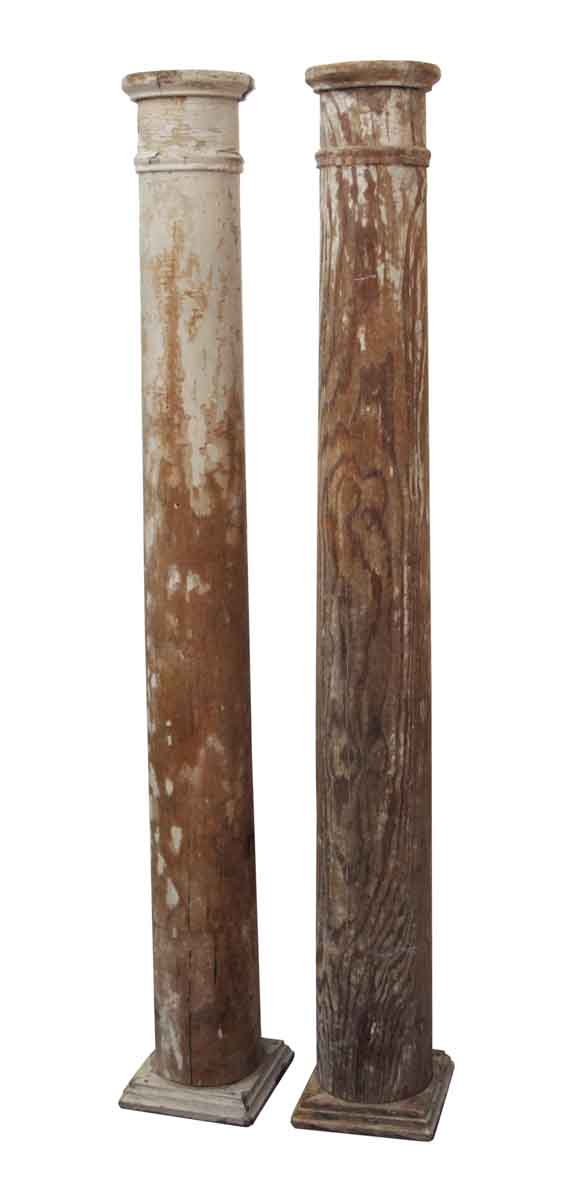 Columns & Pilasters - Pair of Distressed Wooden Columns