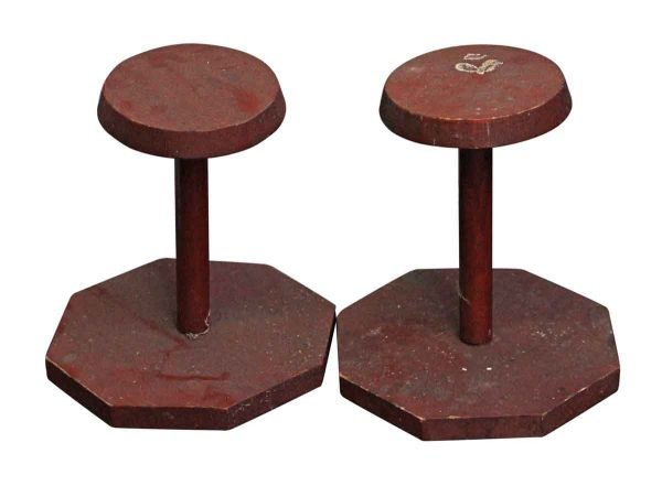 Commercial Furniture - Pair of Red Wooden Hat Stands