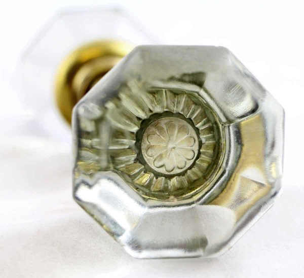 Door Knobs - Clear Glass Door Knob Set with Daisy Shaped Bullet