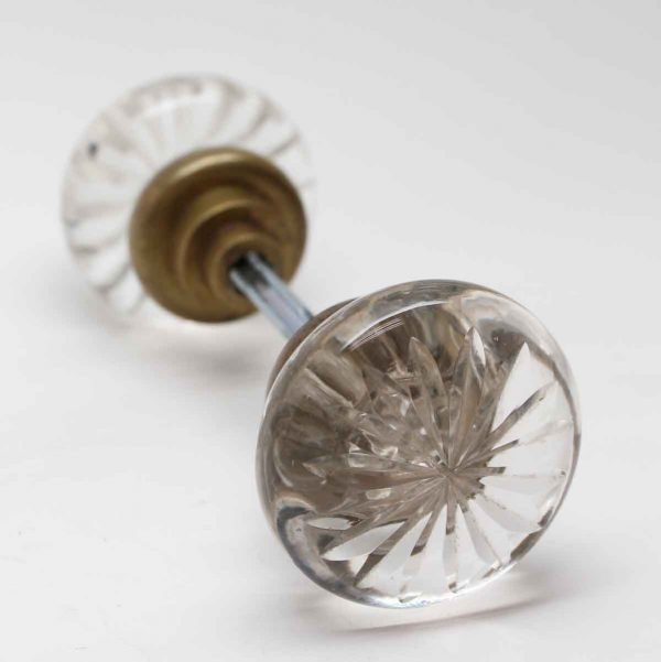 Door Knobs - Vintage Clear Cut Glass Star Door Knob Set