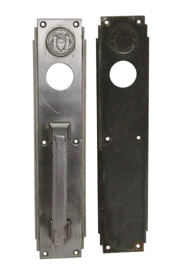 Door Pulls - Art Deco Philadelphia Civic Center Corbin Nickel Door Pull & Push Plate Set