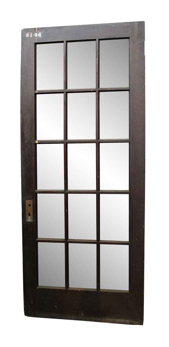 French Doors - Dark Tone Wood Door with 15 Glass Panels