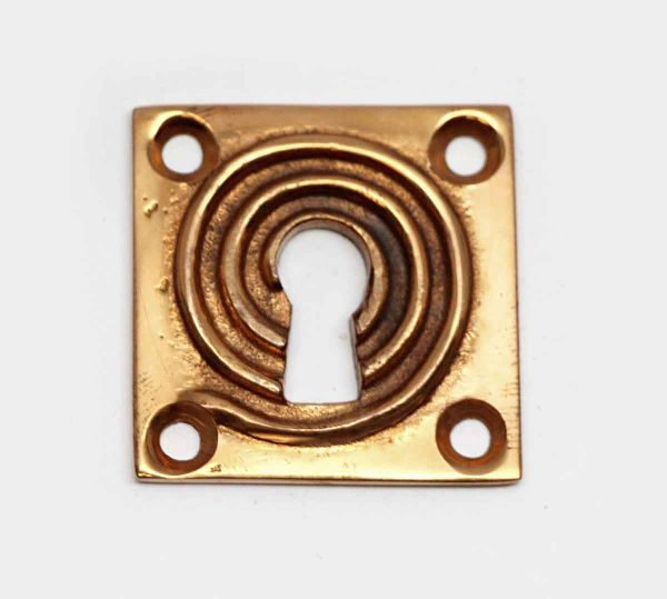 Keyhole Covers - Square Swirl Brass Keyhole Cover