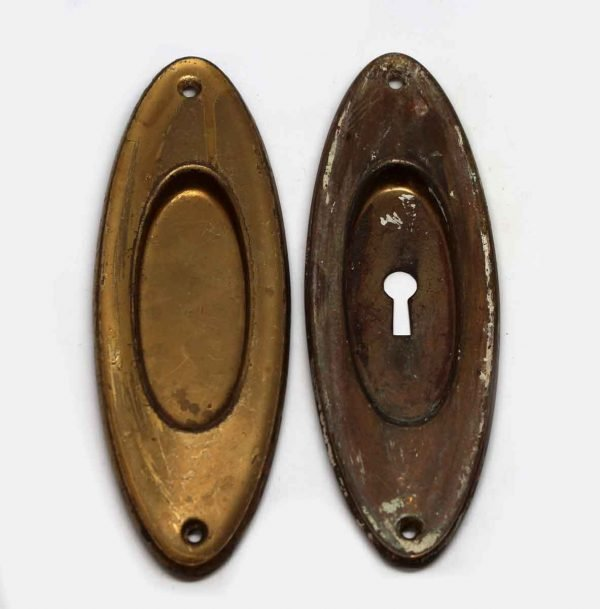 Pocket Door Hardware - Brass Pair of Recessed Pocket Door Plates