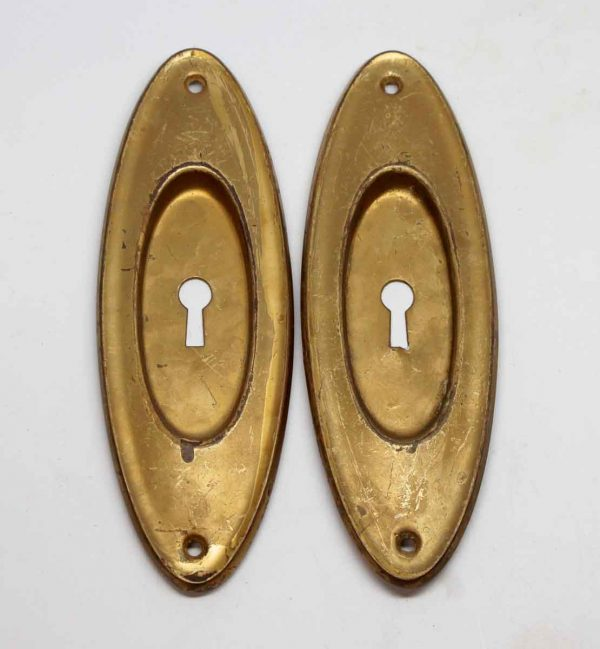 Pocket Door Hardware - Pair of Brass Keyhole Recessed Pocket Door Plates