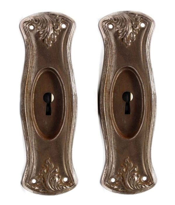 Pocket Door Hardware - Pair of Steel Pocket Door Keyhole Back Plates