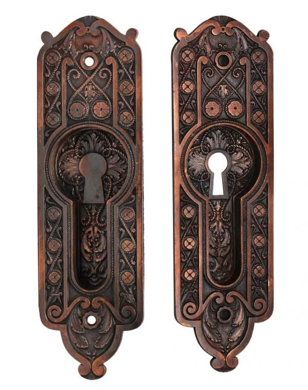 Pocket Door Hardware - Pair of Victorian Pocket Door Keyhole Back Plates