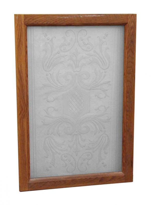 Reclaimed Windows - Framed Etched Glass Reclaimed Window
