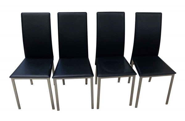 Seating - Newly Made Set of Four Black Mid Century Aluminum Frame Chairs