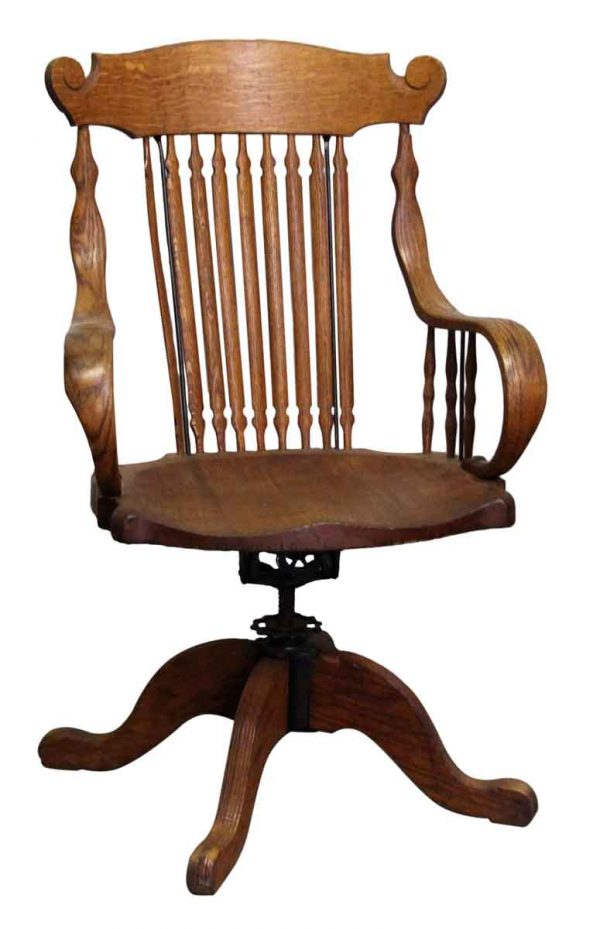 Seating - Tiger Oak Spindle Back Adjustable Swivel Chair with Bentwood Arms