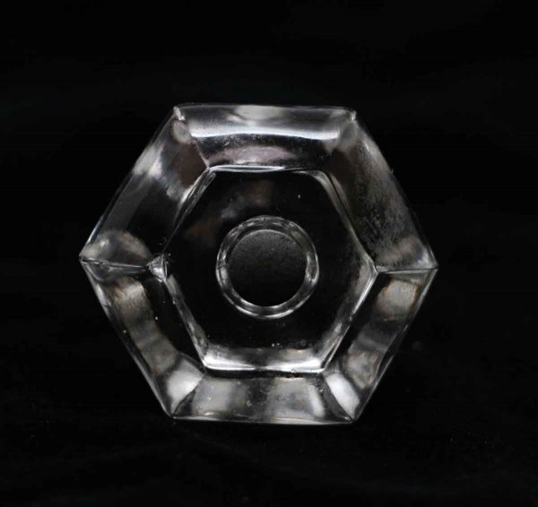 Cabinet & Furniture Knobs - Vintage Clear Glass 1.5 in. Hexagon Cabinet Drawer Knob