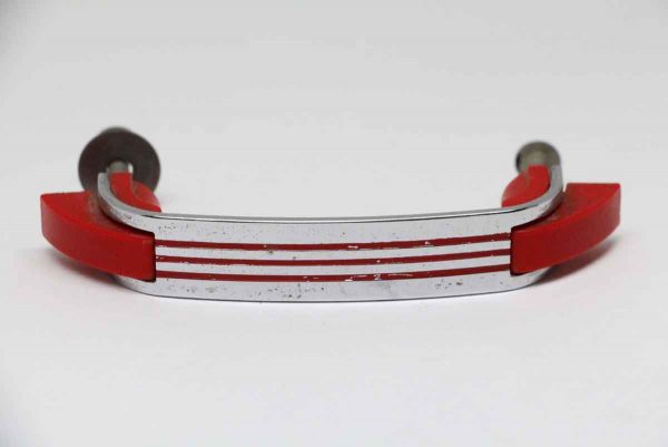 Cabinet & Furniture Pulls - Deco Red Plastic Drawer Pull with Chrome Detail