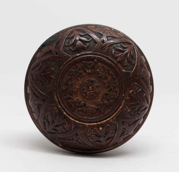 Door Knobs - 6 Fold Classic Bronze Entry Door Knob with a Floral Center