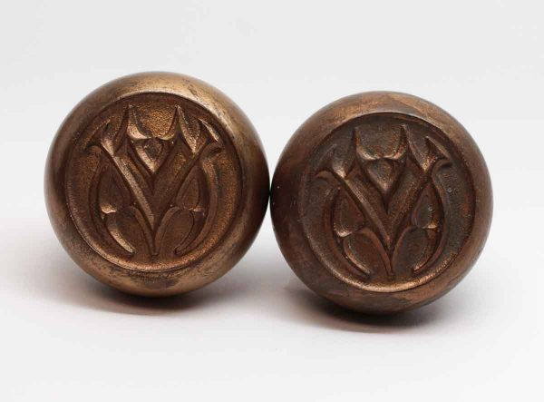 Door Knobs - Pair of Bronze Emblematic VM Schroder Door Knobs