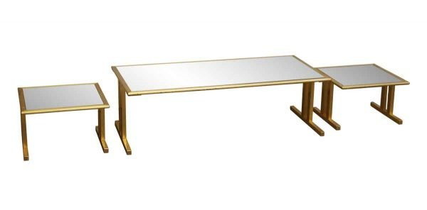 Living Room - Three Piece Smoked Glass Brass Framed Table Set