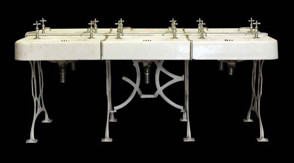 Bathroom - Vintage 6 Unit School Sink with Cast Iron Legs