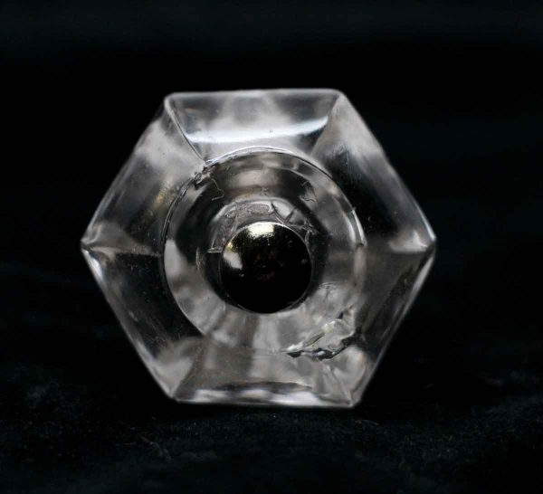Cabinet & Furniture Knobs - 1.25 in. Vintage Hexagon Clear Glass Drawer Knob