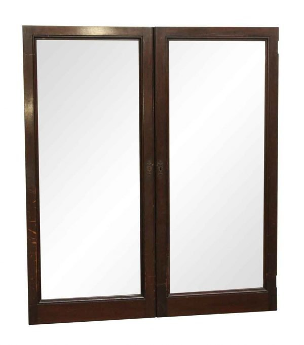 Cabinets & Bookcases - Pair of Glass and Walnut Cabinet Doors