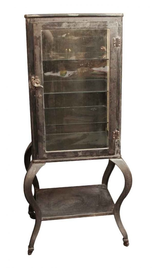 Cabinets - Vintage Steel Medical Cabinet with Cabriole Legs