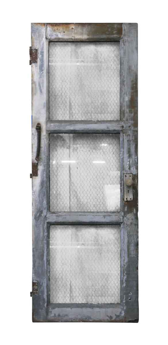 Commercial Doors - Steel Frame 3 Panel Chicken Wire Glass Door