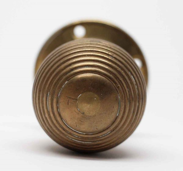 Door Knobs - Concentric Brass Door Knob with Attached Rosettes
