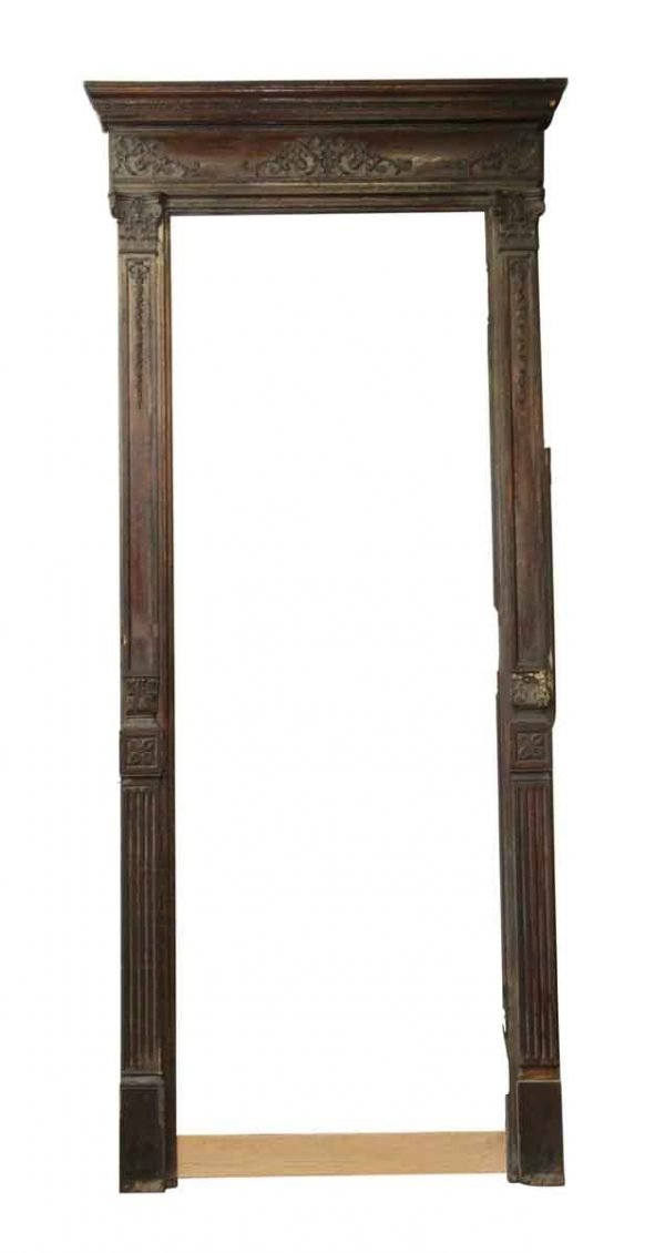 Door Transoms - Tall Antique Chestnut Door Frame with Filigree Detail