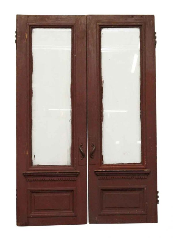 Entry Doors - Brownstone Double Doors with Glass Panels