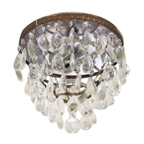 Flush & Semi Flush Mounts - Salvaged Waldorf Crystal & Brass Flush Mount