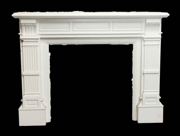 Mantels - Baroque Style White Antique Wooden Mantel