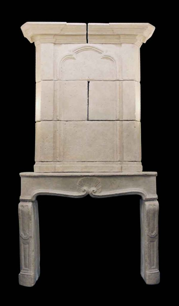 Mantels - French Country Cast Limestone Mantel with Over Mantel