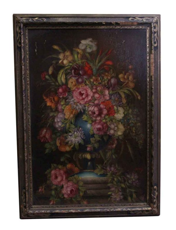 Paintings - Ornately Framed Floral Oil Painting
