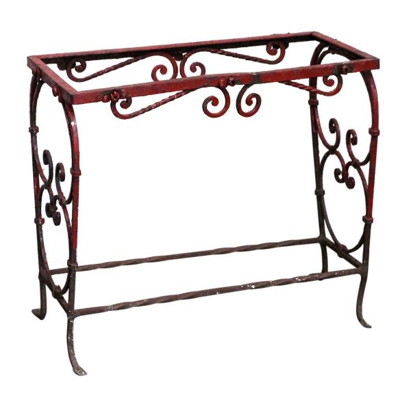 Patio Furniture - Wrought Iron Red Side Table or Aquarium Stand