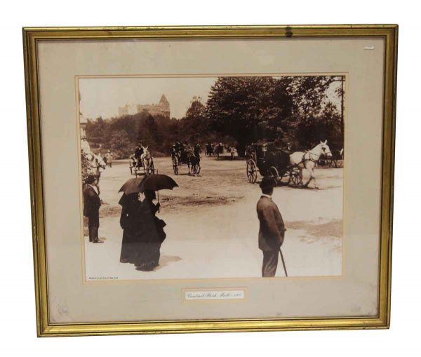 Posters - Early Central Park Mall Photo Mounted in Gold Frame