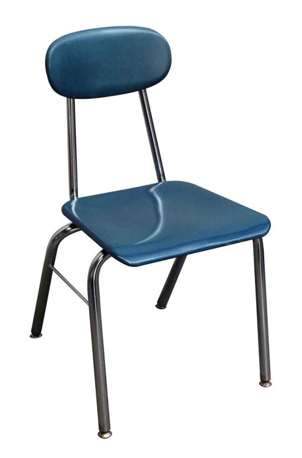 Seating - Bakelite Blue School Chair with Rounded Back & Chrome Legs