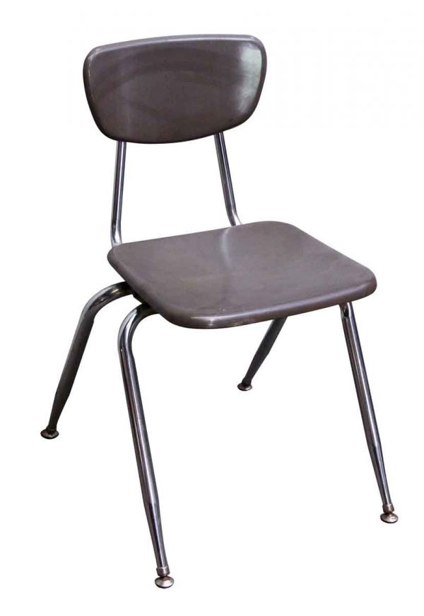 Seating - Bakelite Seal Gray School Chair with Chrome Legs