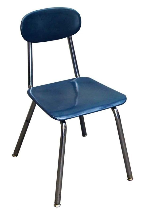 Seating - Navy Blue School Chair with Rounded Back & Chrome Legs