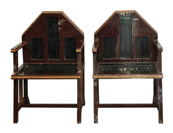 Seating - Pair of Unique Wooden Chairs with Carved Edges