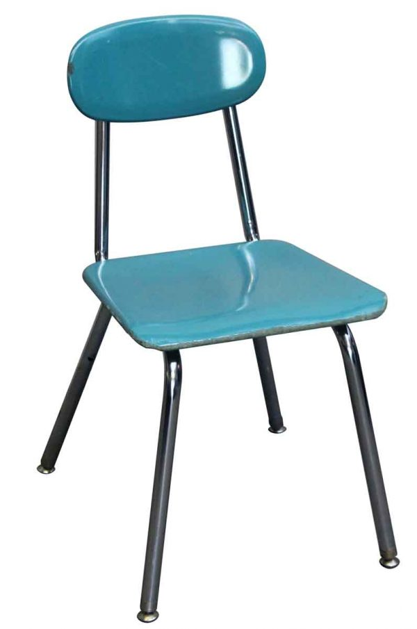 Seating - Teal Bakelite School Chair with Chrome Legs