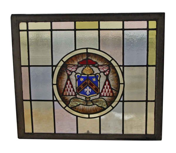 Stained Glass - Large Sash Stained Glass Window with Center Shield Motif