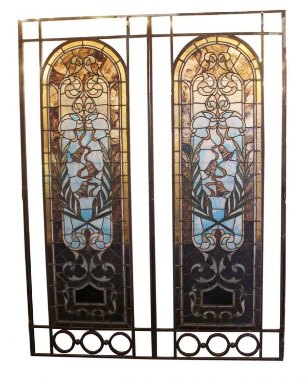 Stained Glass - Pair of Hinged Large Stained Glass Windows