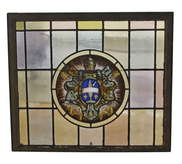 Stained Glass - Stained Leaded Glass Window with Ecclesiastical Motif