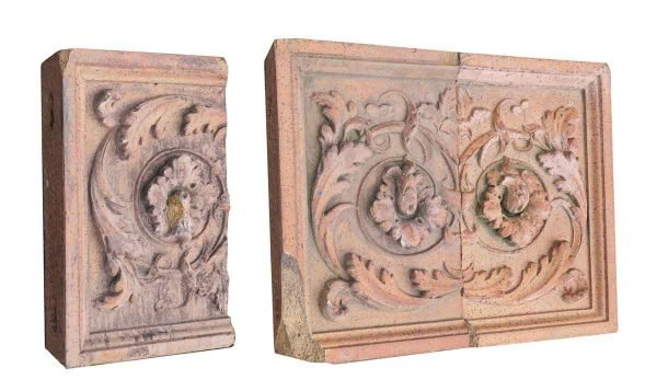 Stone & Terra Cotta - Set of Red Floral Stone Friezes