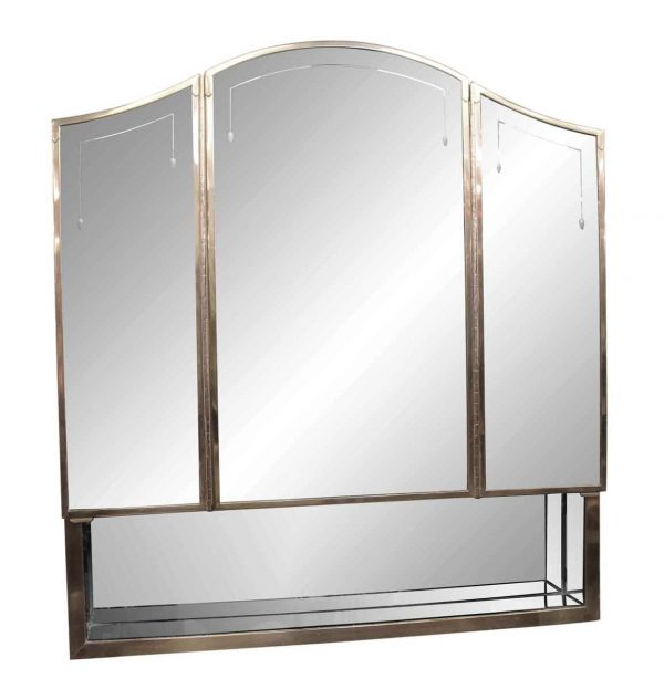 Bathroom - Art Deco Medicine Cabinet with Etched Triple Mirror and Nickel frame from The Waldorf Astoria