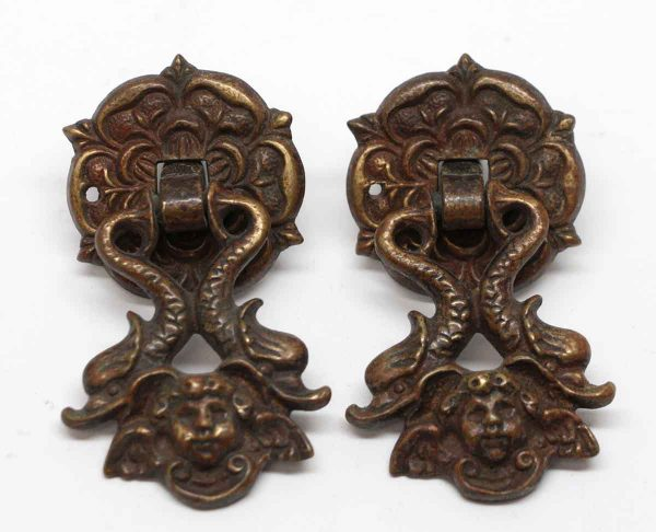 Cabinet & Furniture Pulls - Pair of Bronze Victorian Cherubic Drawer Pulls