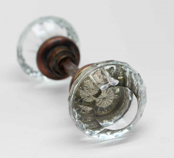 Door Knobs - Antique Flat Top Fluted Glass Door Knobs