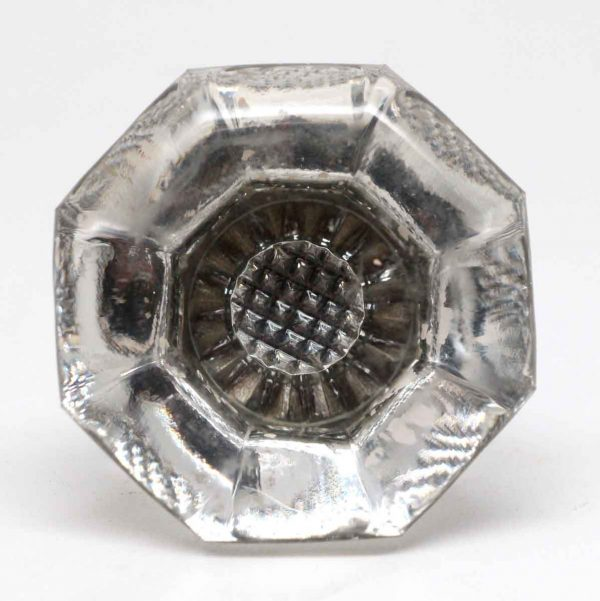 Door Knobs - Antique Octagon Weave Glass Doorknob with Nickel Shank